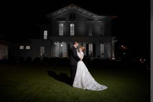 evening wedding portrait at merrimon-wynne house
