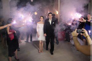 wedding sparkler exit at cotton room