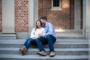engagement photo at UNC belltower