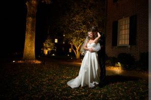 carolina inn wedding portrait at night