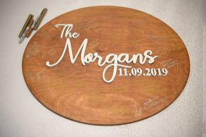wooden signature board