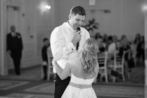 groom singing to bride at carolina inn wedding