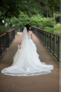bridal portrait outside at the umstead hotel