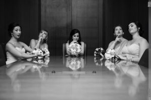 bridesmaids at conference table