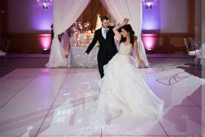 bride & groom practice dancing