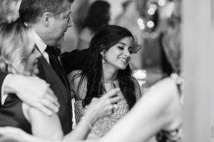 bride smiling at wedding reception